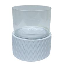 """WHITE CERAMIC /GLASS 10"""" PILLAR HOLDER, CHEVRON"""