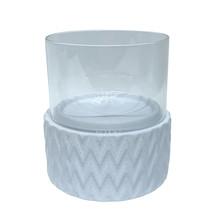 """WHITE CERAMIC /GLASS 8"""" PILLAR HOLDER, CHEVRON"""