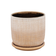 """6"""" TEXTURED PLANTER WITH SAUCER, GOLD"""