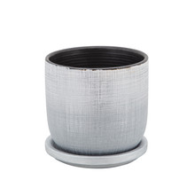 """5"""" TEXTURED PLANTER WITH SAUCER, SILVER"""