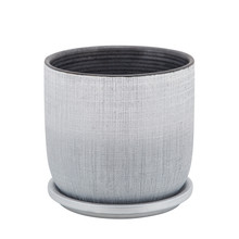"""6"""" TEXTURED PLANTER WITH SAUCER, SILVER"""
