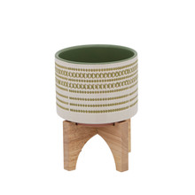 """5"""" AZTEC PLANTER W/ WOOD STAND, OLIVE"""