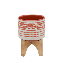 """5"""" AZTEC PLANTER W/ WOOD STAND, RED"""