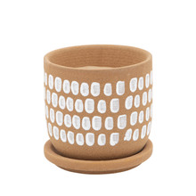 """5"""" PAINTED PLANTER W/ SAUCER, BROWN"""