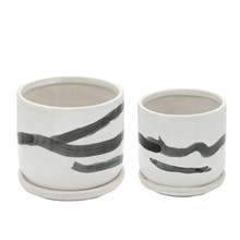 """S/2 5/6"""" PAINTED PLANTERS W/ SAUCER, WHITE"""