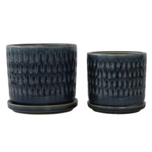 """S/2 5/6"""" HAMMERED PLANTERS W/ SAUCER, BLUE"""