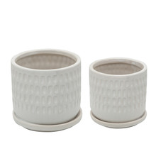 """S/2 5/6"""" HAMMERED PLANTERS W/ SAUCER, WHITE"""