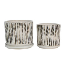 """S/2 5/6"""" DOTTED PLANTERS W/ SAUCER, BEIGE"""