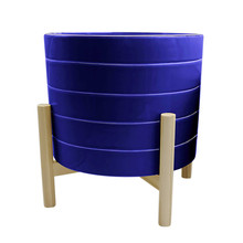 """10"""" STRIPED PLANTER W/ WOOD STAND, NAVY"""