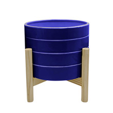 """8"""" STRIPED PLANTER W/ WOOD STAND, NAVY"""