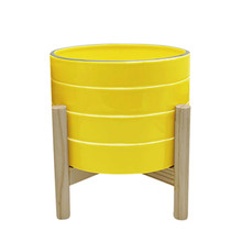 """8"""" STRIPED PLANTER W/ WOOD STAND, YELLOW"""