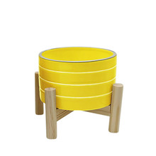 """6"""" STRIPED PLANTER W/ WOOD STAND, YELLOW"""
