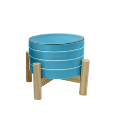 """6"""" STRIPED PLANTER W/ WOOD STAND, SKYBLUE"""