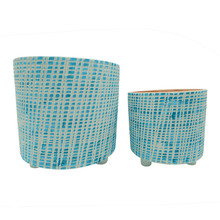 """S/2 10/12"""" CHECKERED FOOTED PLANTER, GREEN"""