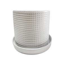 """S/2 WEAVE PLANTERS W/ SAUCER 6/8"""", WHITE"""