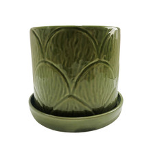 """S/2 SHELL PLANTERS W/ SAUCER 6/8"""", GREEN"""