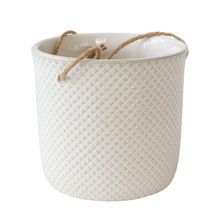 """7"""", DOTTED HANGING PLANTER, WHITE"""