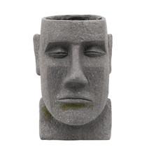 """RESIN, 11"""" MOAI HEAD PLANTER, GRAY"""