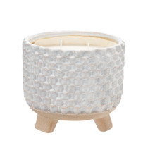 """8"""" WOVEN CANDLE by Liv & Skye, FRENCH VANILLA"""