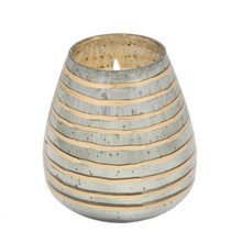 64OZ CANDLE ON GRAY STRIPED GLASS by Liv & Skye