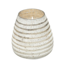 64OZ CANDLE ON SILVER STRIPED GLASS by Liv & Skye