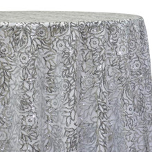 Fiori Leaf Sequins Table Linen in Silver