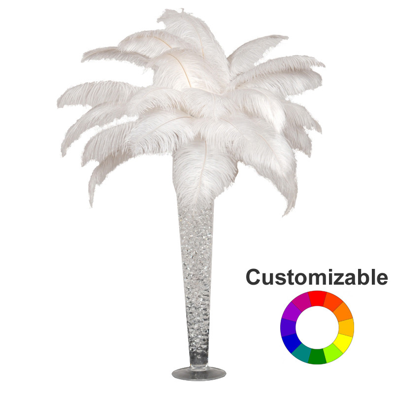 Custom ostrich feather centerpieces with trumpet vases