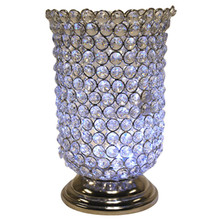 "10"" Crystal Candle Holder in Nickel"