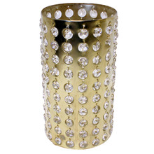 "9.5"" Bronzed Gold Cylinder Candle Holder with Crystals"