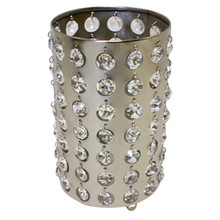 "7"" Nickel Cylinder Candle Holder with Crystals"