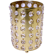 "6"" Bronzed Gold Cylinder Candle Holder with Crystals"