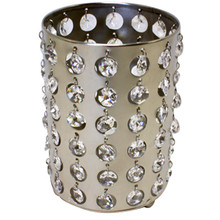 "6"" Nickel Cylinder Candle Holder with Crystals"