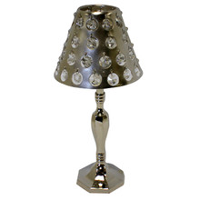 Nickel Table Lamp with Crystals
