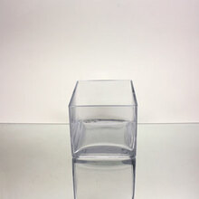 "6"" x 6"" x 4"" Block Glass Vase - 12 Pieces"