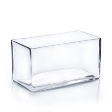 "8"" x 3.5"" x 4"" Block Rectangle Glass Vase - 12 Pieces"