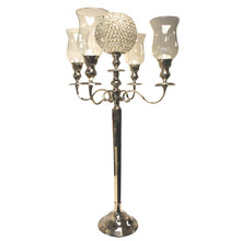 39 Inch Candelabra with Hurricanes & Crystal Ball