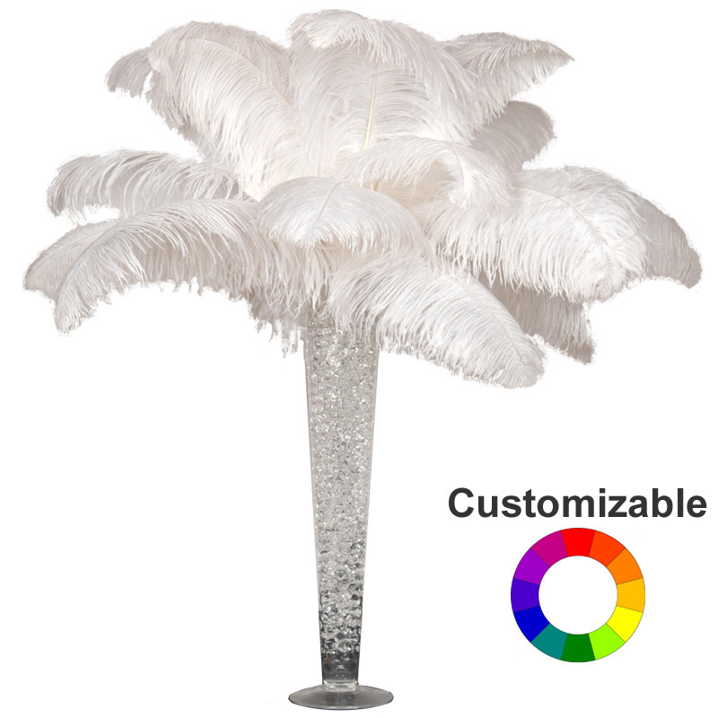 Deluxe Ostrich Feather Plume Centerpiece With 24 Trumpet Vase