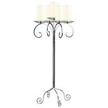 "32"" Tall Tabletop Candelabra - Pillar in Frosted Silver"