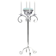 "32"" Tall Tabletop Candelabra with Flower Bowl in Nickel"