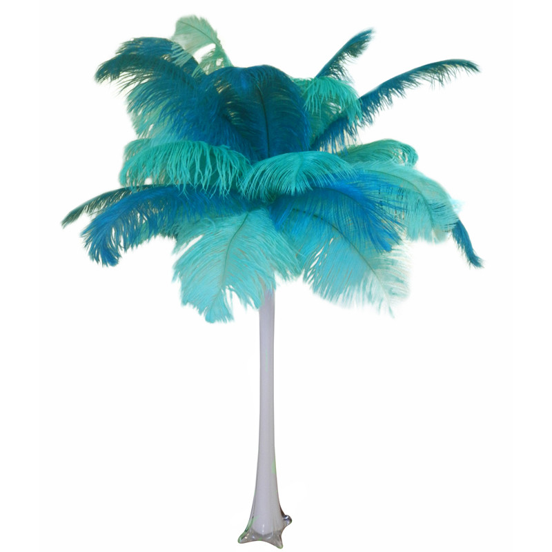 Quot Teal And Mint Quot Ostrich Feather Centerpiece Eventswholesale Com
