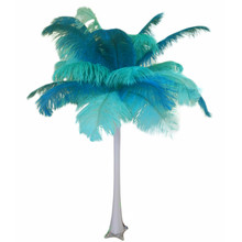 """Teal and Mint"" Ostrich Feather Centerpiece"