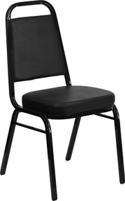 Black Vinyl THICK CUSHION Stacking Banquet Chair with Black Frame
