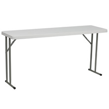 "18""W x 60""L Granite White Plastic Folding Training Table"