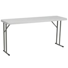 "18""W x 60""L Granite White Plastic Folding Training Table"