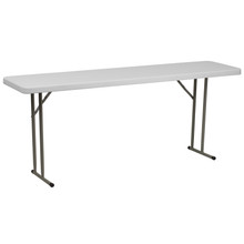 "18""W x 72""L Granite White Plastic Folding Training Table"