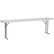 "18""W x 96""L Granite White Plastic Folding Training Table"