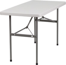 "24""W x 48""L Granite White Plastic Folding Table"