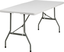 "30""W x 60""L Granite White Plastic Bi-Folding Table"