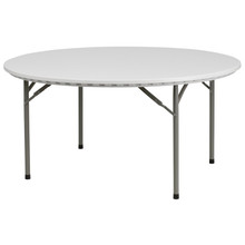 60u0027u0027 Round Granite White Plastic Folding Table