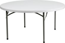 60'' Round Granite White Round Plastic Folding Table
